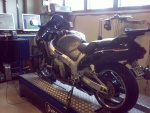 Busa on the dyno, ready for tuning the original ECU with PetriK's software.